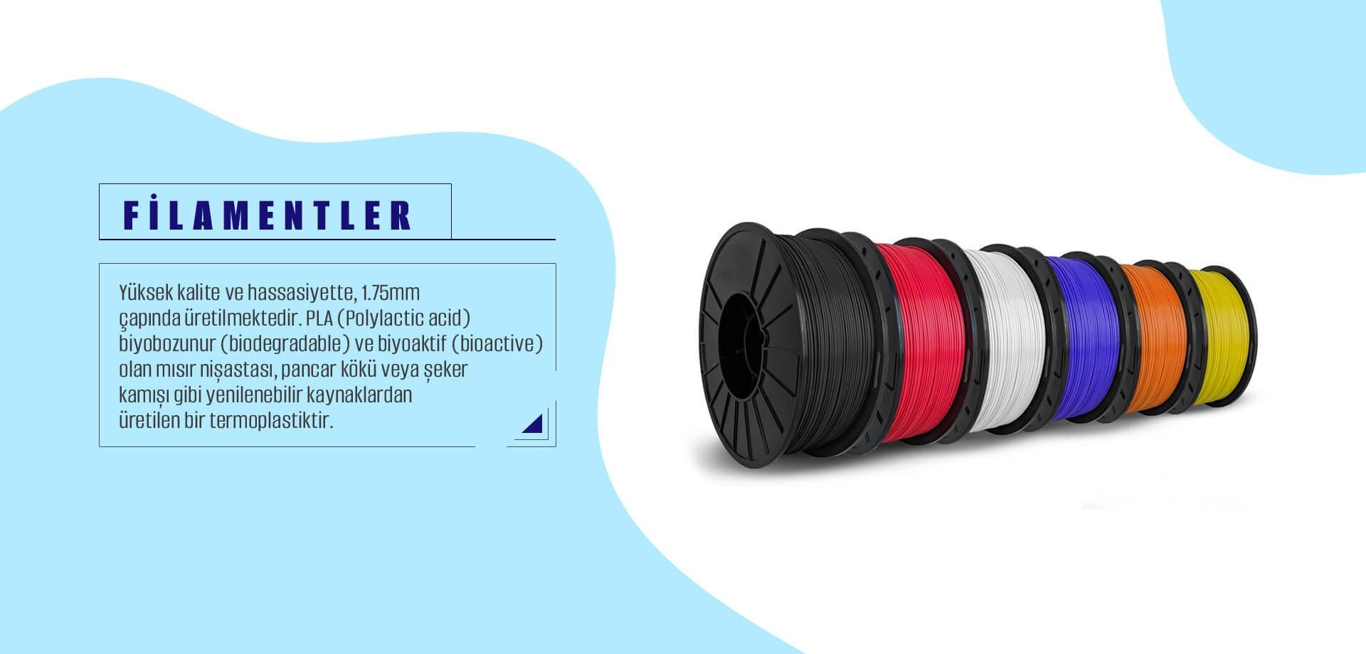 Filamentler Yüksek Kalite ve Hassasiyetle 1.75 mm